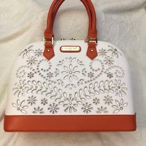 Nicole Lee Orange and White Handbag